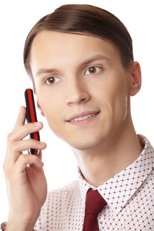 Smilingl businessman talking via cell phone on a white background Stock Photo - 10513382