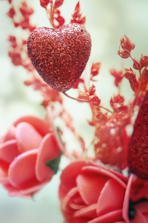 red rose bokeh: Close-up photo of the heart and flower decoration as a symbol of Saint Valentine day