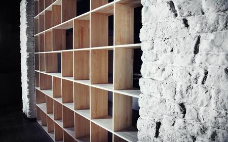 cor: Empty wooden cabinet in the dark interior Stock Photo