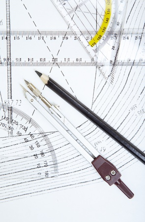 Scheme with compasses rulers and pencil. Close-up photo Stock Photo - 13233028