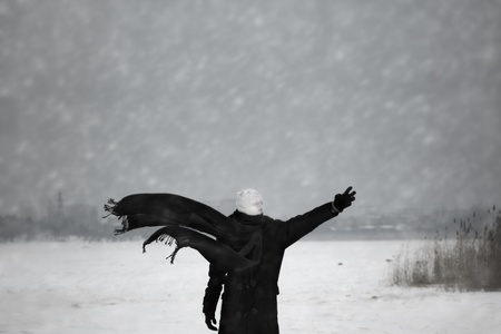 incubus: Human with bandaged head under the nuclear snowstorm Stock Photo