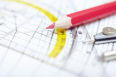 Scheme with compasses rulers and pencil. Close-up photo Stock Photo - 13357021