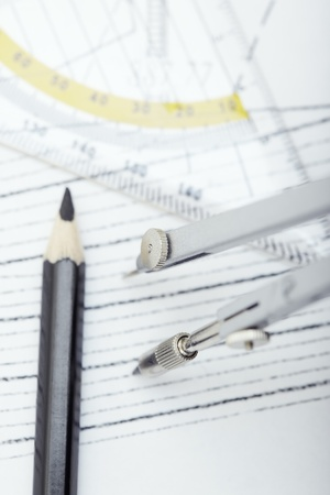 Scheme with drawing tools Stock Photo - 13407562