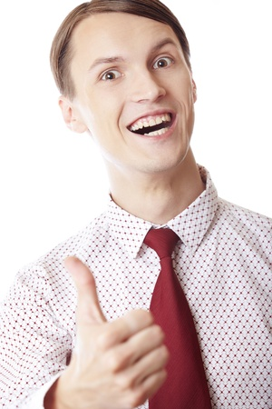 Happy businessman with thumb up on a white background Stock Photo - 14737273