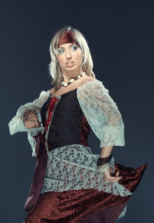 gipsy: Female flamenco dancer on a studio background Stock Photo