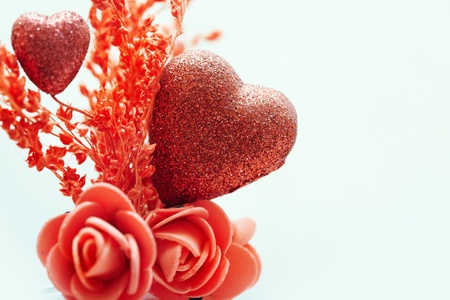 saint valentine: Close-up photo of the heart and flower decoration as a symbol of Saint Valentine day
