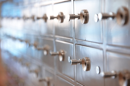 safe deposit box: Several safes. Horizontal, closeup view with shallow depth of field