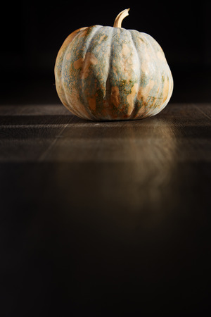 nightmarish: Pumpkin for Halloween in the dark room.  Stock Photo