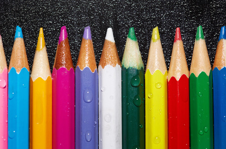 variability: Set of wet crayons. Close-up view