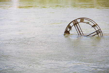 waterweed: Vintage Water wheel in the river