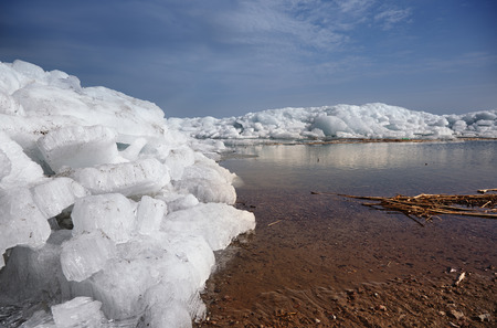 dissolution: Ice hummocks in Arctic region. Horizontal photo