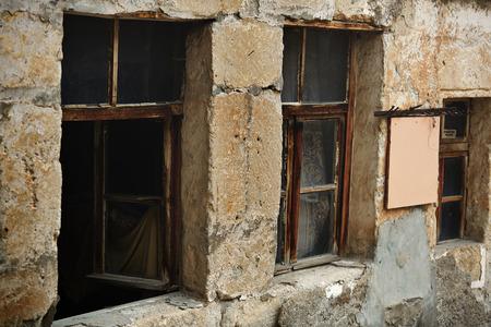 abandoned house window: Windows of the old abandoned house. Horizontal photo