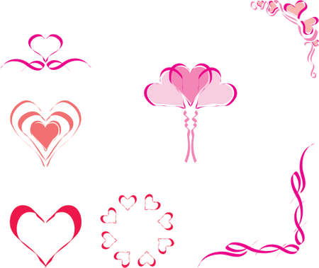 vector illustration design elements and borders - hearts Stock Vector - 951689