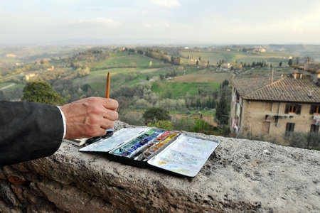 Watercolor painting in Tuscany, Italy