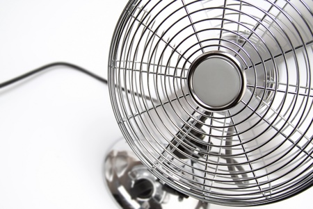ventilator: Metal-styled running fan on a white background