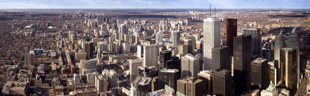 building cn tower: Panoramic shot of Toronro city center, made from CN Tower, the highest tower in the World. Actually, this image is made from 5 shots. High definition! Stock Photo