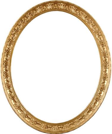 an oval: El marco real del museo de arte antiguo. Alto detalle, aspecto clásico. Color oro rico y el ornamento elegante. Foto de archivo