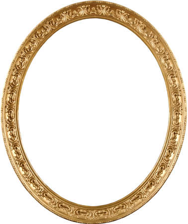 oval shape: The real antique frame from art museum. High detail; classic appearance. Rich gold color and elegant ornament.