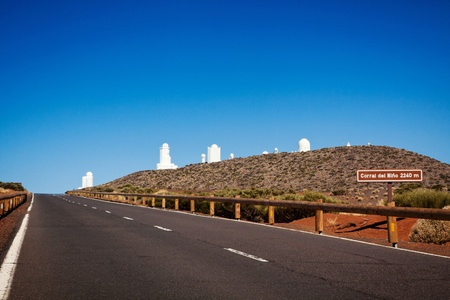 Astronomical observatory on Tenerife operated by the Instituto de Astrofisica de Canarias. Group of telescopes on a high mountain.