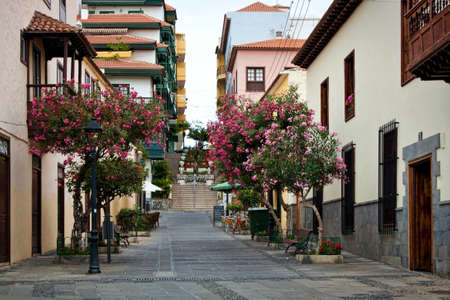 street cafe: Street of beautiful old town of Puerto de la Cruz, Tenerife, Canary Islands, Spain Stock Photo
