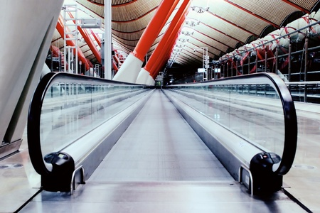 barajas: Modern interiors of Madrid Barajas Airport; cross process color toning