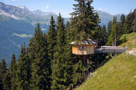alpine hut: Alpine wooden treehouse in switzerland