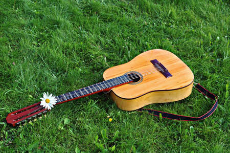 12-string old guitar on a green lawn after a concert photo