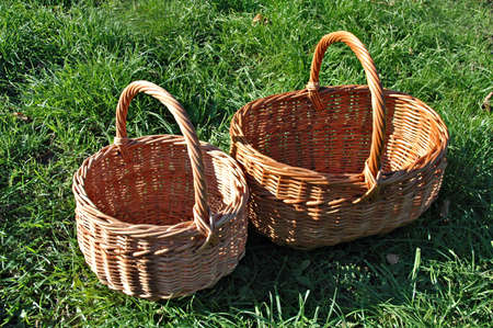 capacious: Empty baskets on a grass Stock Photo