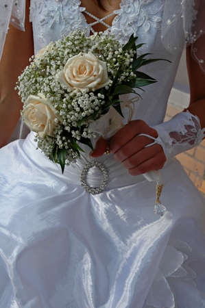 Wedding bouquet from white roses photo