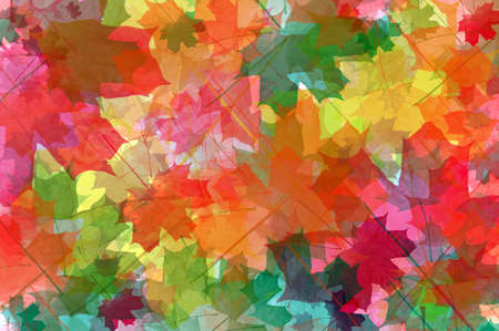 Abstract background from multicoloured maple leaves of the different size photo