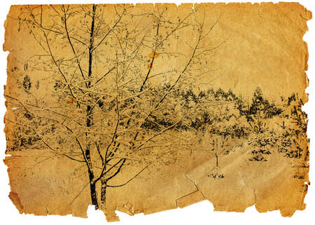 Leaf of the old turned yellow paper with a landscape photo