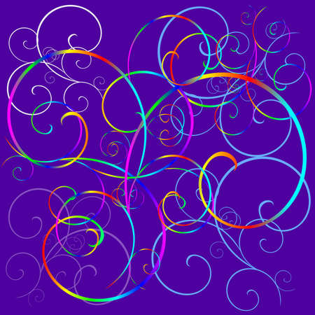 lilas: Lilas background with a rainbow curls and spirals
