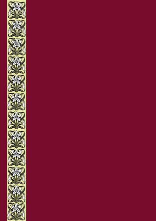 bordo: Vintage claret background with floral strip