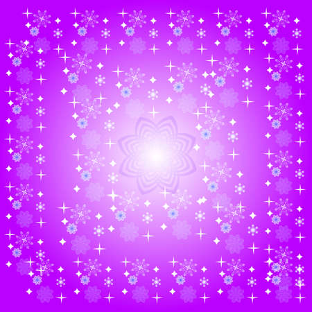 lilas: Lilas background with snowflakes and stars Stock Photo