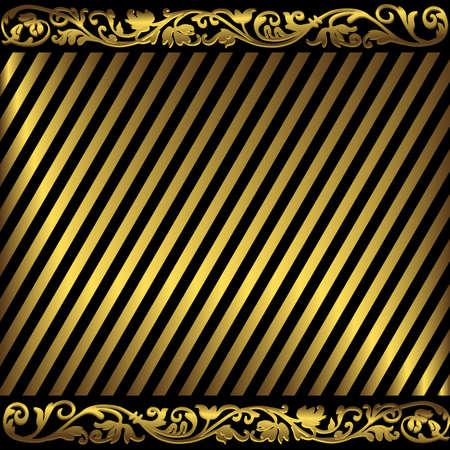 Elegant background from golden and black strips Vector