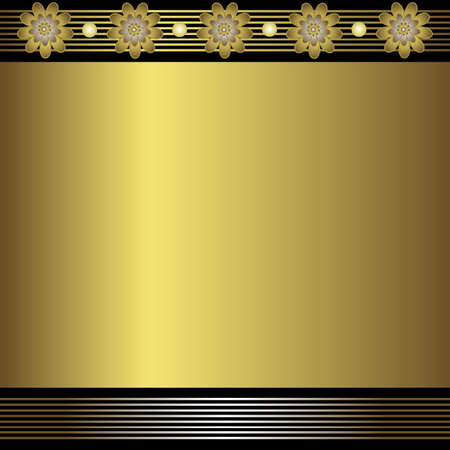 shone:  Floral and geometric golden background (vector)