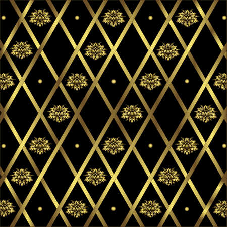 Black and golden geometric background (vector)