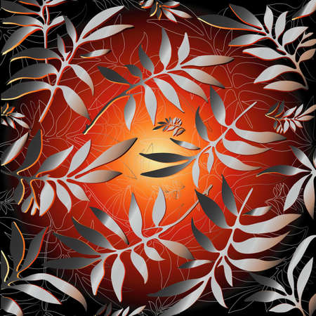 poured: Background for design from silver leaves (vector) Illustration