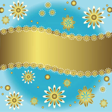 shone: Blue and golden  floral background  (vector)