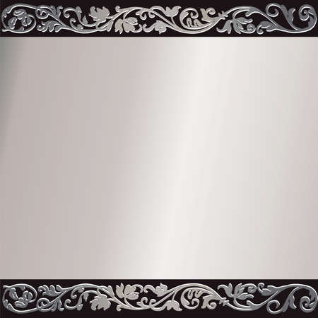 Vintage silvery frame with  place for the text Vector