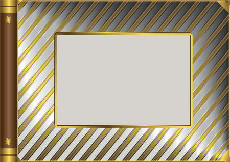 Silvery and golden vintage photo album cover (vector)  Vector