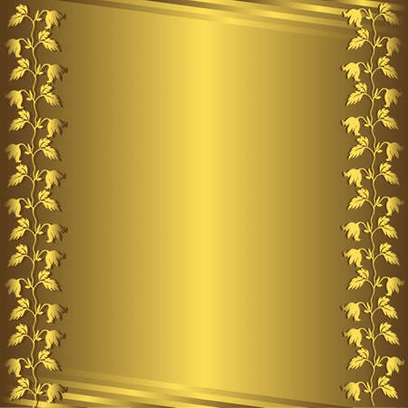 Golden  floral background (vector)