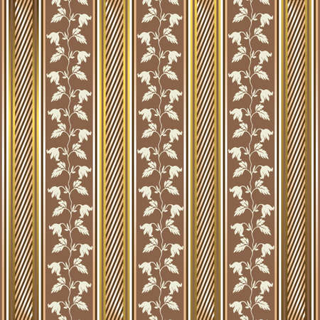Striped decorative background in coffee and golden tones Vector