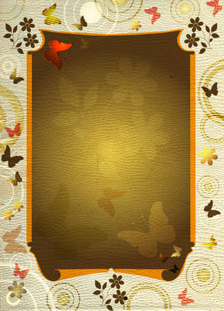 butterfly stationary: Decorative banner on a thin white paper with a relief Stock Photo