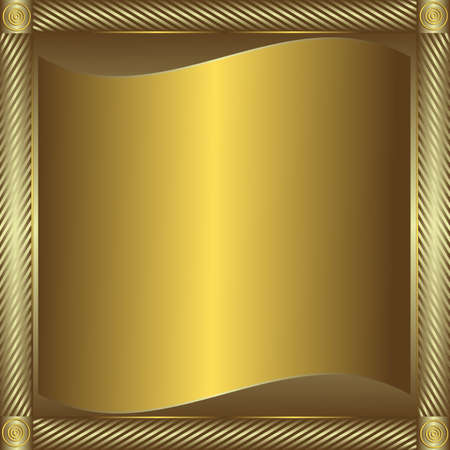 silvery: Shining silvery and golden  frame with  place for the text Illustration