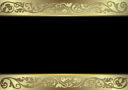 gold floral: Black, golden and silvery background (vector)