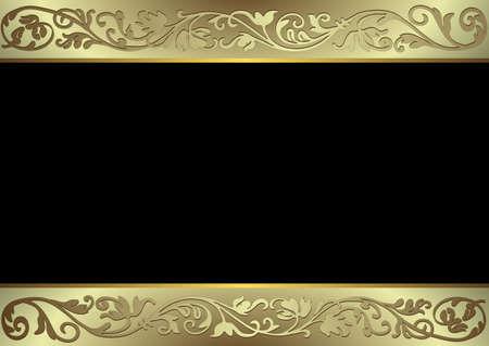 fiocco oro: Nero, oro e d'argento sfondo (vettore)