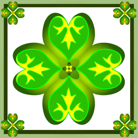 Retro  ornament with green shamrocks Vector