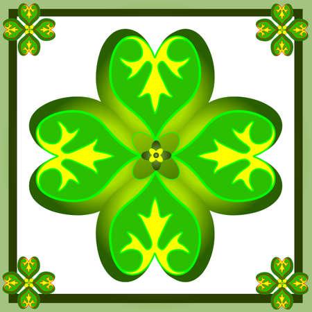 Retro  ornament with green shamrocks Stock Vector - 4403505