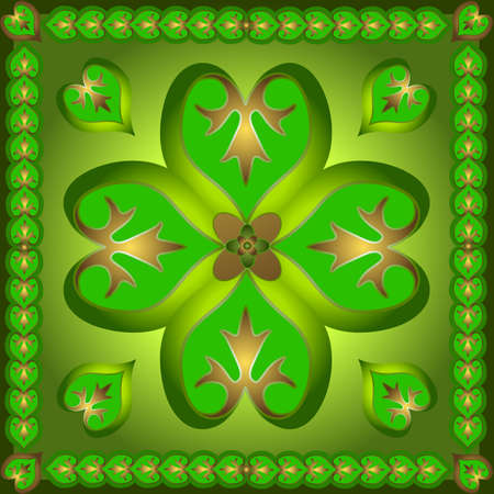 Retro  ornament with green shamrocks Stock Vector - 4403506